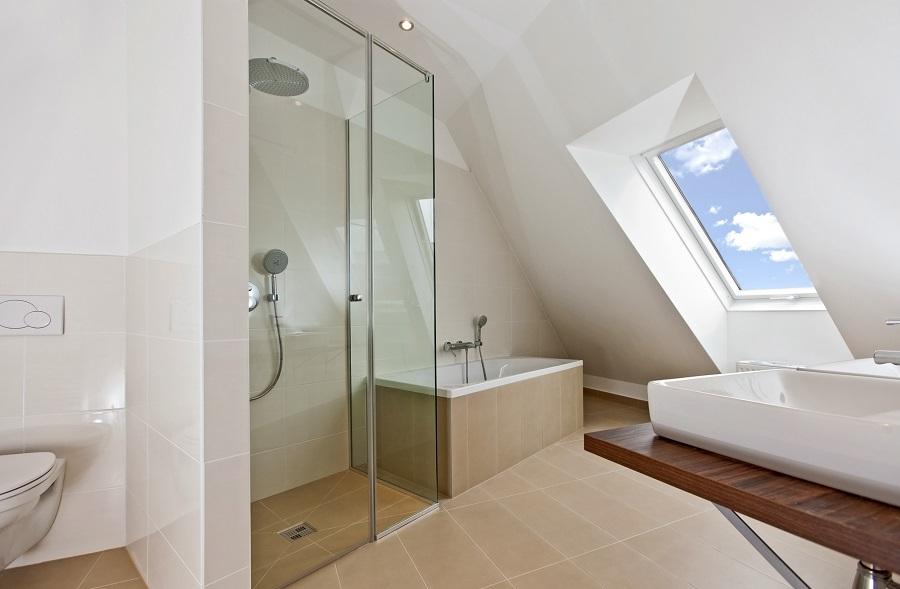 sunlit bathroom with roof top window